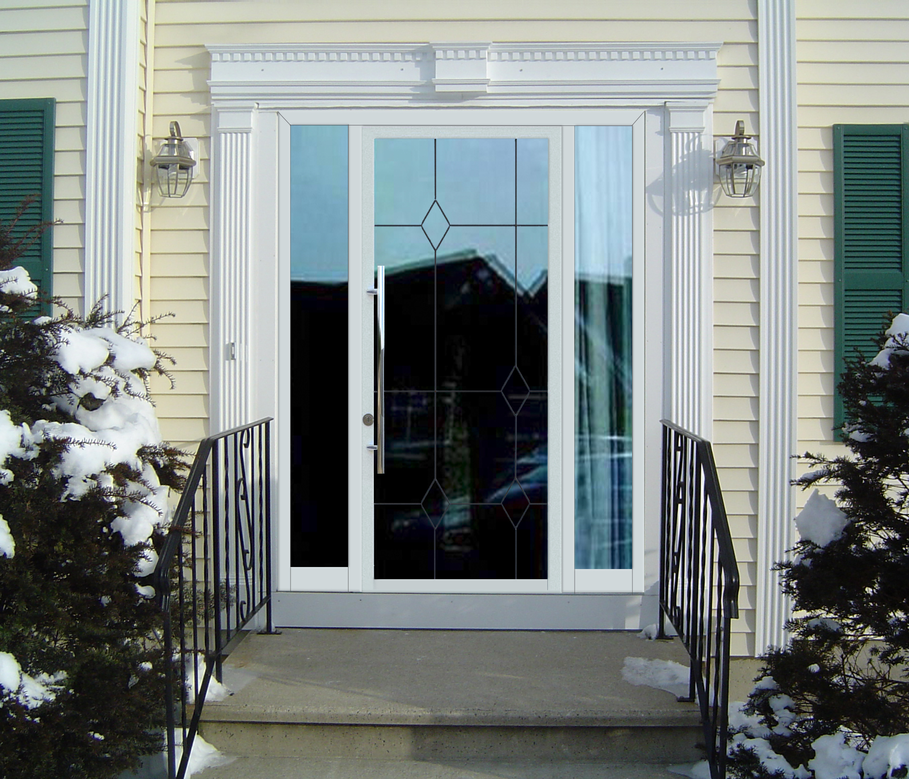 входные двери пвх со стеклом для загородного дома
